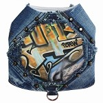 Graffiti Couture Rebel Crew Upcycled Denim Dog Harness Vest