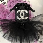 Black Quilted Metallic Lux Dog Tutu Dress