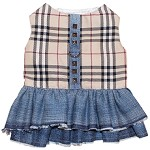 Fashion Plaid Denim Dog Harness Dress