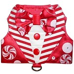 Red Peppermint Candy Cane Stripes Christmas Tuxedo Dog Harness Vest