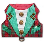 Red Tartan Plaid Christmas Tuxedo Dog Harness Vest