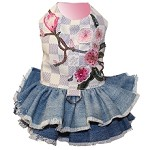 Fashion Floral Checkered Denim Dog Dress