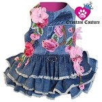 Sweet Romance Pink Floral Designer Dog Denim Dress