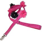 Pink Ultra Suede Flower Dog Leash