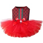 Red Monogram Stripe Dog Tutu Dress