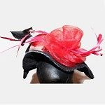 Black and Red Microsuede Sequin Rose Hat