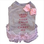 Keep Calm and Carry Me Gray Dog T Shirt