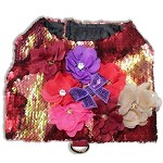 Crimson Lux Sequin Dog Harness Size SMALL