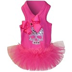 Hot Pink Crystal Skull T-Shirt Tutu Dog Dress