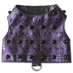 Purple Embossed Skull Faux Leather Studded Dog Harness