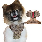 Classic Brown Studded Step-in Dog Fashion Harness