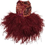 Burgundy Wine and Rose Embroidered Feather Dog Dress