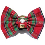 British Punk Rock Red Tartan Plaid Christmas Bow Tie Dog Collar