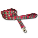 Red Tartan Plaid Studded Christmas Dog Leash