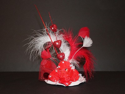 Red White Love Mini Top Hat Statement Dog Cat Pet Headpiece