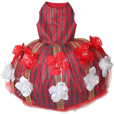 Red Plaid and Flowers Christmas Couture Glamour Dog Dress