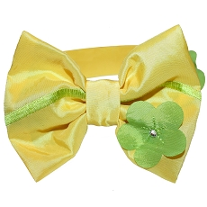 Yellow Lily Gardenia Floral Bow Tie Dog Collar