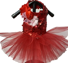 Red Sequin Sparkle Dog Tutu Dress