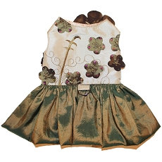 Olive Gardenia Lily Dog Harness Dress