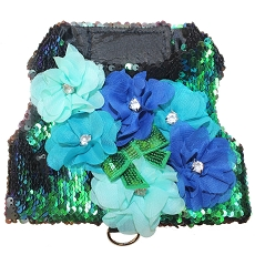 Under the Sea Mermaid Green and Black Aqua Sequin Flower Dog Harness Vest