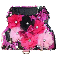 Magenta Pink and Black Mermaid Sequin Flower Dog Harness Vest