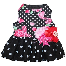 Love Polka Dots and Roses Classy Dog Harness Dress