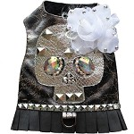 Silver Rocker Glam Studded Skull & Rose Dog Harness Vest