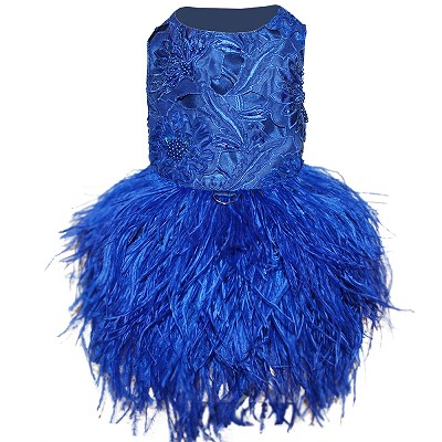 Sapphire Blue Embroidered Feather Dog Dress