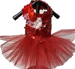 Red Sparkle Dog Tutu Dress