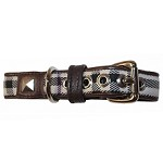 Brown Leather Plaid Dog Collar