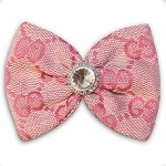 Pink Designer Monogram Swarovski Crystal Dog Hair Bow